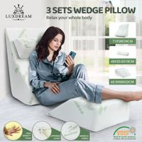3 Pcs Memory Foam Wedge Pillow Set Bed Pillow Headrest Leg Elevation Bamboo Cover