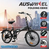 Auswheel Electric Bike Bicycle Folding Ebike 250W Motor 36V 9Ah Battery 7 Speed