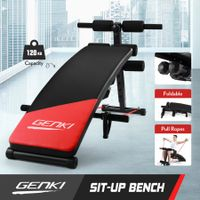 GENKI Fitness Sit Up Bench Home Gym Exercises Equipment W/ Padded Cushion Dumbbell Pull Ropes