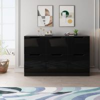 Modern Wooden Chest of Drawers Bedroom 6 Drawers Storage High Gloss Front Black