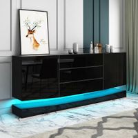 180cm Wall Mounted Sideboard Buffet Cupboard 2 Cabinets 3 Drawers High Gloss Front LED Lighting Black