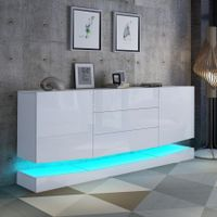 180cm Wall Mounted Sideboard Buffet Cupboard 2 Cabinets 3 Drawers High Gloss Front LED Lighting White