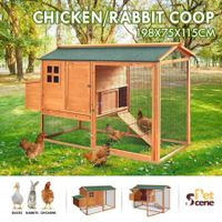 Petscene Wooden Chicken Coop Run 200cm Walk-in Rabbit Hutch Ferret Pet House with Nest Box