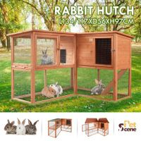 Petscene XL Fir Wood Bunny Rabbit Cage Animal Hutch w/ Outdoor Run Ramp Slide Out Tray