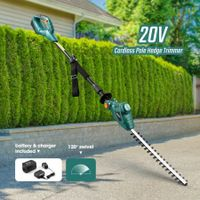 20V Telescopic Cordless Pole Hedge Trimmer Long Reach Garden Tool Battery Powered