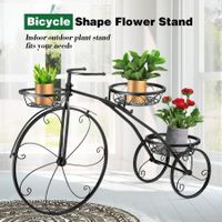 3 Tier Bicycle Shape Plant Stand Metal Flower Plant Pot Stand Display Rack Black
