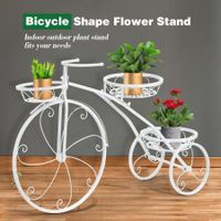 3 Tier Bicycle Shape Plant Stand Metal Flower Plant Pot Stand Display Rack White