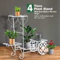4 Tier Metal Plant Stand Flower Plant Pot Stand Shelf White