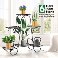 6 Tier Metal Plant Stand Flower Plant Pot Stand Shelf Black