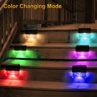 6 Pack Solar Deck Lights Led Solar Step Lights Outdoor Super Bright 10 lumens 2 Lighting Modes Acrylic Bubbles Warm White/Color Changin