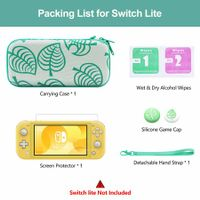 Carrying Case for Nintendo Switch Lite, 4 in 1 Protective Storage Bag Set with 8 Game Card Slots  Include Screen Protector & Keycap Caps & Hand Strap