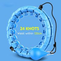 24 Knots Adjustable Exercise Weighted Hula Hoop, Smart Detachable Fitness Hula Hoops for Adults Abdomen Fitness and Massage 2-in-1,Exercise for Legs Waist Hips (Blue)