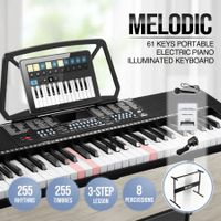 Melodic Electronic 61-Lighted Key Piano Keyboard 24 Demo Songs USB Jacks Music Stand