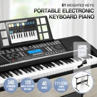 Melodic 61-Key Weighted Electronic Piano Keyboard 345 Timbres 40 Demo Songs Music Stand