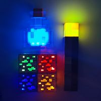 Minecraft Brownstone Torch Lamp | 11.5 Inch LED Night Light | USB Charging Port