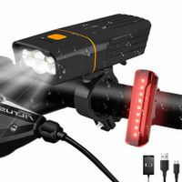 LED Bike Headlight and Back Light Set 2400 mAh 3+5 Light Modes, IPX5 Waterproof