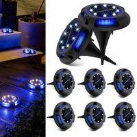 8 packs Solar Lights Outdoor with  8LEDs Garden Yard Lawn Walkway Driveway (White + Blue)
