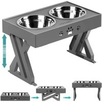 Elevated Dog Bowls Adjustable Raised Dog Bowl with 2 Stainless Steel 1.5L Dog Food Bowls