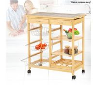 Wooden Kitchen Storage Trolley w/ Wine Rack