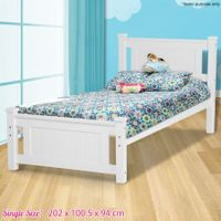 Kids White Wooden Bed Frame-King Single