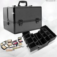 Metis Large Portable Cosmetic Beauty Makeup Carry Case Box with Adjustable Compartments - Matt Black