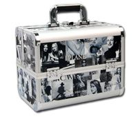 Large Portable Cosmetic Beauty Makeup Carry Case Box - Silver