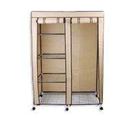 Non-woven Cover Steel Tube Storage Wardrobe 4-level Storage with Drape - Beige - NWD-118beige