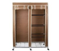 Non-woven Cover Steel Tube Storage Wardrobe 4-level Storage with Drape - Brown - NWD-118coffee