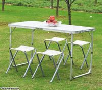 4 Person Aluminium Foldable Table & Four Chairs Set for Picnic & Camping - White