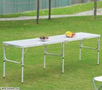 Extra Large Portable Aluminium Fold-Out Table for Picnic & Camping - 240cm x 60cm