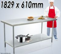 Stainless Steel Kitchen Work Bench & Catering Table (183cm x 61cm)