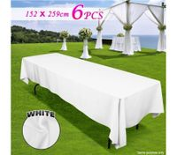 6 piece White Rectangle Tablecloth Set-152cmx259cm