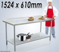 Stainless Steel Kitchen Work Bench & Food Prep Table (152cm x 61cm)