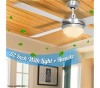 "Silver 52"" Ceiling Fan with Light"