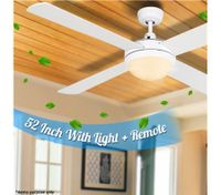 "White 52"" Ceiling Fan with Light"