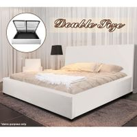 White Gas Lift Storage Bed - Double