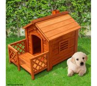 Indoor/Outdoor Wooden Dog Kennel House With porch-Fir Wood