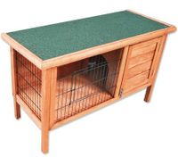 2 Section Wooden Rabbit/Guinea Pig Pet Hutch House - Fir Wood