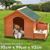Waterproof Wooden  Dog House  Kennel with 2 Food Bowls
