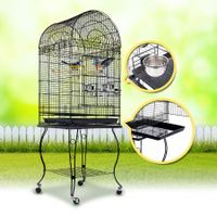 Bird Parrot Cage - Elegant Dome Top, Lacework & Curve Legs Design - Black