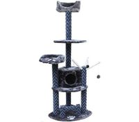 Cat Tree 173cm Gym Scratching Post Play Center with Cube Burrow/Cat Bed/Cat Toys - 5 Levels - Blue Grey