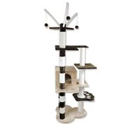 Cat Tree 173cm Gym Scratching Post Play Center with Cube Burrow/Hanging Cat Toys - 6 Levels - Chocolate Brown and Cream