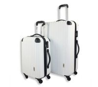2pc Hard- Shell Luggage Trolley Set - White