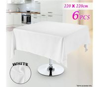 6 Piece White Square Tablecloth Set-220cmx220cm