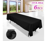 6 piece Black Rectangle Tablecloth Set-220cmx380cm