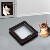 4 Way Lockable Cat / Small Dog Flap Door in Brown