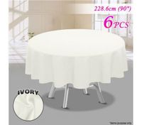 6 Piece Ivory Round Tablecloth Set-228.6cm