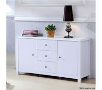 White 3 Drawer 2 Door Cabinet