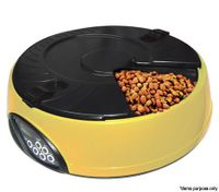 6 Compartment Programmable Pet Feeder with Recordable Message and Built-In Microphone