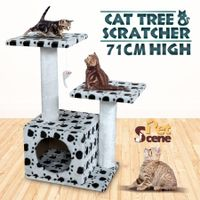 Cat Tree 71cm Gym Scratching Post Play Center with Cube Burrow/Hanging Toy Mouse - 3 Levels - White with Black Paw Prints
